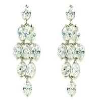 Diamond Shaped White CZ Mesh Chandelier Post Drop Earrings | le Jane Fashion Jewelry