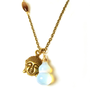 Inspirational Handmade Buddha Charm Opal Gemstone Brass Necklace