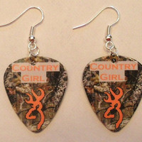 Country Girl Mossy Oak Camo with orange browning deer symbol guitar pick earrings