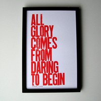 $20.00 New Year's Poster Letterpress Print All Glory by happydeliveries
