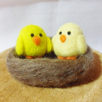 Needle Felted Chicks -  pair of chicks in a nest - 100% merino wool - wool felt chick - Easter chick