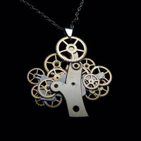 Organic Clockwork Tree Necklace Golden Bonsai by amechanicalmind