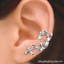 925. Berry Leaf  - Sterling Silver ear cuff earring, Non pierced earcuff jewelry 011213