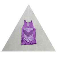 SALE - The Nomad - ladies tank top - arrows and lace screenprint on oversized viscose tanks - white, gray, and orchid - boho fashion