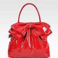 Valentino - Double Handle Patent Leather Bow Bag - Saks.com