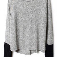 ROMWE | Zippered Light Grey Jumper, The Latest Street Fashion