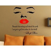 Marilyn Monroe wall decal art letter decor sticker bedroom mural