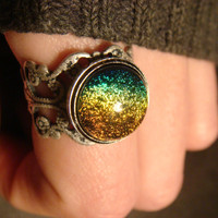 Antique Silver Ox Dichroic Glass Galaxy Ring  - Adjustable ( 833)