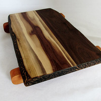 Walnut Cutting Board Footed Cherry Feet Natural Look Carved Sides And Ends