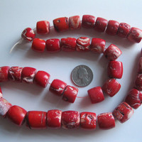 Red Coral Beads Color Enhanced Vintage - 5 Beads