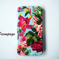 Vintage flower - iPhone 4 Case , iPhone 4s Case , Floral iPhone Case , iPhone 4 Cover, case