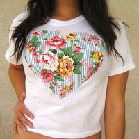 Love What's Missing | Floral and Stripes Heart Crop Top | Online Store Powered by Storenvy