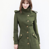 Army Green Fitted Cashmere Coat Military Jacket Winter Wool Coat Women Coat - Custom Made - NC446