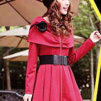Cape Pattern Red Zipper Long Sleeve Dresses : Wholesaleclothing4u.com