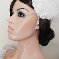 Fascinator, Bridal Fascinator, White Feather Fascinator, Head Piece, Wedding Hair Accessories, Wedding Hair Piece