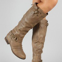 Mesha-2 Buckle Ruched Riding Knee High Boot