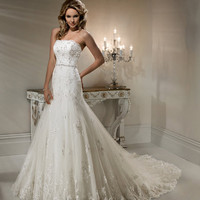 2012 Maggie Sottero Bridal - Ivory Lace &amp; Beaded Strapless Fitted Natasha Wedding Gown - 0 - 28 - Unique Vintage - Cocktail, Evening &amp; Pinup Dresses