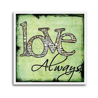 SALE Love Always Coffee Coaster in Green by BuffaloCreekCrafts