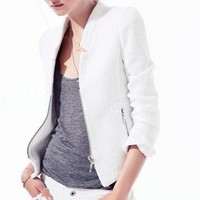 New Womens European Fashion Multi-pocket Oblique Zipper Slim Jacket Blazers B336