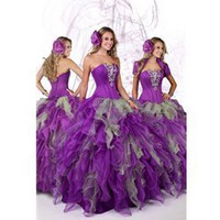 Quinceanera Dresses: Purple & Silver Ball Gown