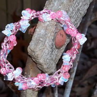 Crochet Wire Bracelet Pink Passion by trevor4995 on Etsy
