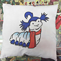Handdrawn handmade cotton Labyrinth Worm cushion by geekvintageuk