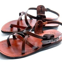 Jesus - Yashua Style IV - Camel Shoemaker Unisex Outdoor Leather Biblical - Sandals from the Holy L