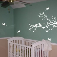 Tree Branch with 10 birds Wall Decals Sticker Nursery Decor Art Mural