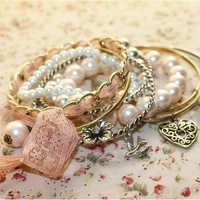 Fashion Pink Pearl Bangles