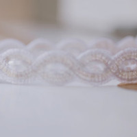 Silver and Winter's White Woven Headband Women Teen Adult