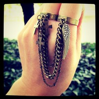 Heaven Above - double finger chain ring
