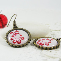 Red Floral Pattern Earrings 295  FREE WORLDWIDE by CutTheFish