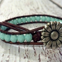 Southwest Chic Leather Wrap Turquoise Bracelet, Boho