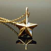 The Little Star - Solid 14k gold charm pendant - Charm Necklace - Ready to Ship