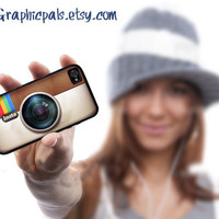 Instagram  iPhone 4 case iPhone 4s Case  Silicone Rubber case Black or White Personalize with your name.