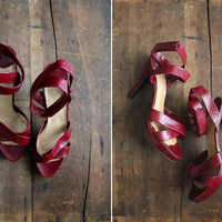 1970s vintage strappy wine leather platform heels by allencompany