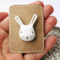 Bunny clutch pin Paper clay animal accesory by sweetbestiary