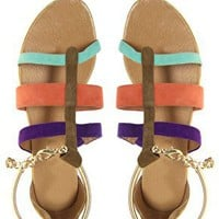 River Island | River Island Colour Block Triple Strap Sandals at ASOS