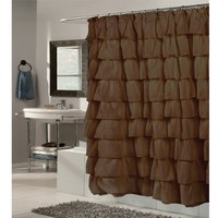 Carnation Home Fashions Carmen Crushed Voile Ruffled Tier Shower Curtain, 70-Inch by 72-Inch, Brown