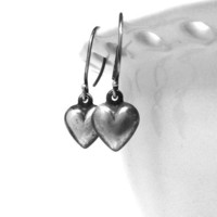 Earrings Hearts Rustic Darkened Sterling by GirlBurkeStudios