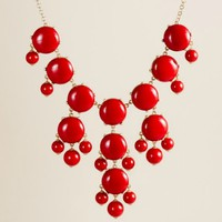 J Crew Bubble Necklace - Red