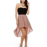 Romantic Color Block Dress - Strapless Dress - &amp;#36;37.00