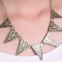 European Retro Gothic Bronze Alloy Geometric Triangle Necklace Sweater Chain