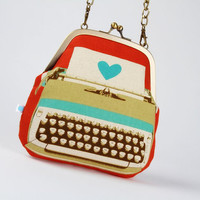 Clutch bag  Typewriter in coral  metal frame purse by octopurse