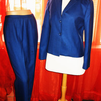 Amazing Vintage PENDLETON SUIT Jacket With Pants Blue Wool Lined Size 10/6 Mage in El Salvadore