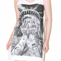 Crying Statue Of Liberty Tattoo White Women Top Woman Shirt Tunic Singlet Tank Top Sleeveless Women Art Punk Rock T-Shirt Size S