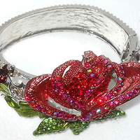 Swarovski Austrian Crystal Rose Hinged Bangle Bracelet Red