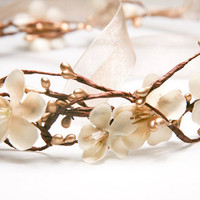 Rustic bridal wreath in gold and ivory headbands by BeSomethingNew