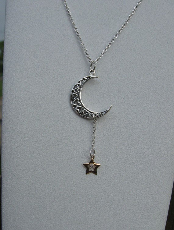 Moon and Star Necklace  Inspired by Sarah Jessica by AListDesigns