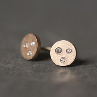 Three Diamond Stud Earrings in 14k Gold